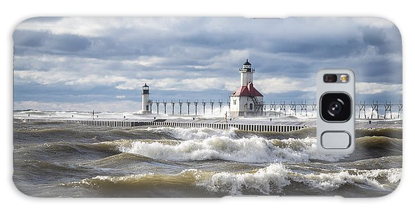 St Joseph Lighthouse On Windy Day Galaxy Case by John McGraw