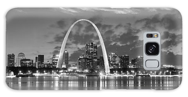 St. Louis Skyline At Dusk Gateway Arch Black And White Bw Panorama Missouri Galaxy Case by Jon Holiday