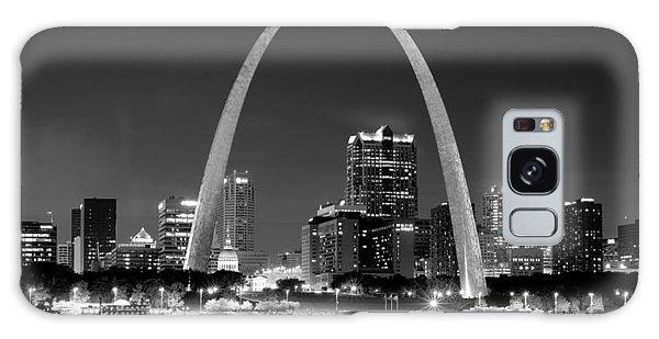 St. Louis Skyline At Night Gateway Arch Black And White Bw Panorama Missouri Galaxy Case