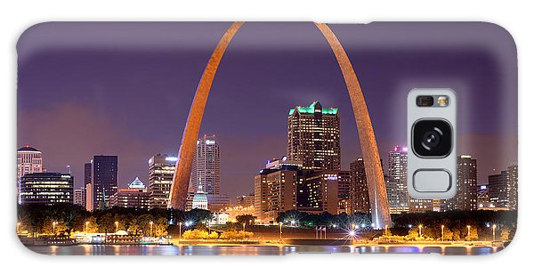 St. Louis Skyline At Night Gateway Arch Color Panorama Missouri Galaxy Case by Jon Holiday