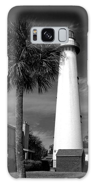 St. Simons Island Georgia Lighthouse In Black And White Galaxy Case
