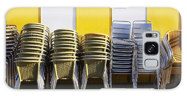 Street Cafe Galaxy Case - Stacks Of Chairs And Tables by Carlos Caetano