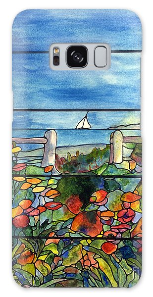 Stained Glass Tiffany Landscape Window With Sailboat Galaxy Case by Donna Walsh