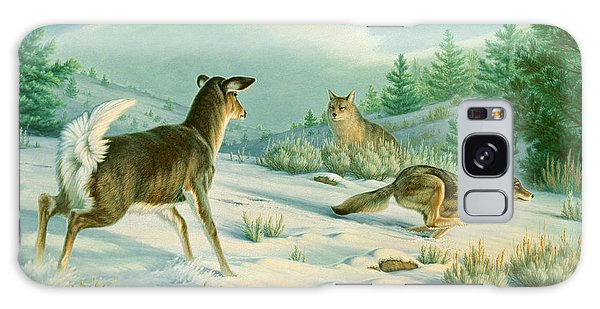 Coyote Galaxy Case - Stand-off  -whitetail Doe And Coyotes by Paul Krapf