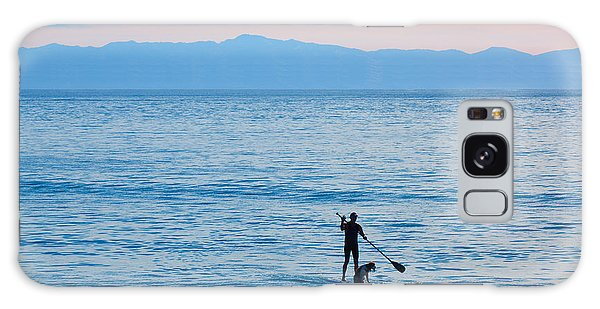 Galaxy Case featuring the photograph Stand Up Paddle Surfing In Santa Barbara Bay California by Ram Vasudev