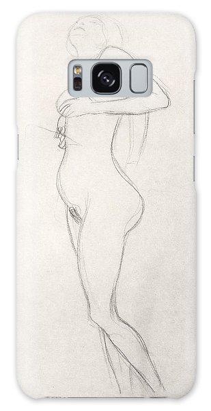 Beautiful Girl Galaxy Case - Standing Nude Girl Looking Up by Gustav Klimt
