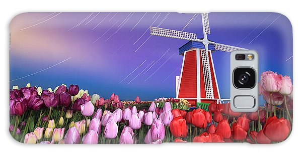 Star Trails Windmill And Tulips Galaxy Case