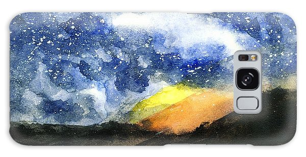 Starry Night With Fire In Santa Monica Mountains Galaxy Case by Randy Sprout