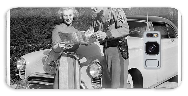 State Patrolman Assists Young Woman Traveler 1951 Galaxy Case