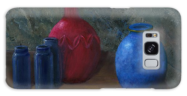 Still Life Art Blue And Red Jugs And Bottles Galaxy Case