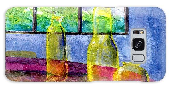 Still Life Art Bright Yellow Bottles And Blue Wall Galaxy Case