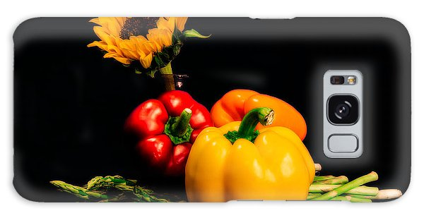 Still Life Peppers Asparagus Sunflower Galaxy Case by Jon Woodhams
