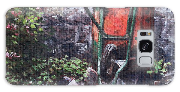 Still Life Wheelbarrow With Collection Of Pots By Stone Wall Galaxy Case