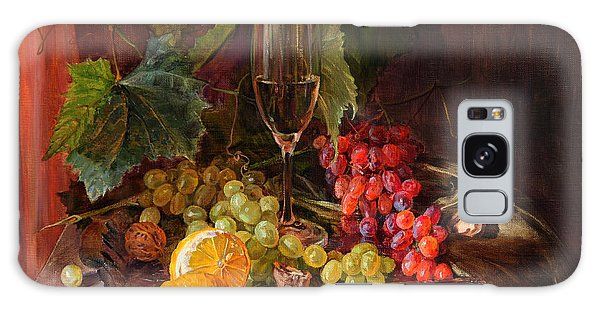 Still-life With A Glass Of Wine And Grapes Galaxy Case