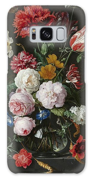 Still Life With Fowers In Glass Vase Galaxy Case
