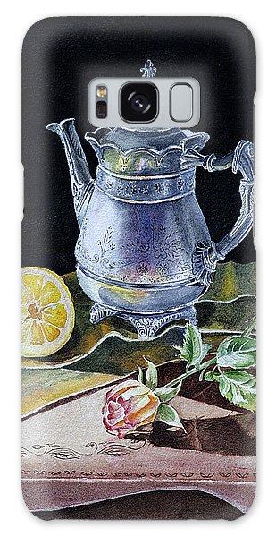 Metal Leaf Galaxy Case - Still Life With Lemon And Rose by Irina Sztukowski