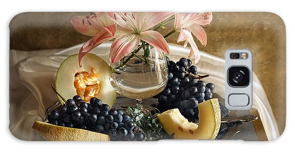 Still Life With Lily Flowers And Melon Galaxy Case by Vitaliy Gladkiy