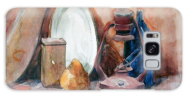 Watercolor Still Life With Rustic, Old Miners Lamp Galaxy Case