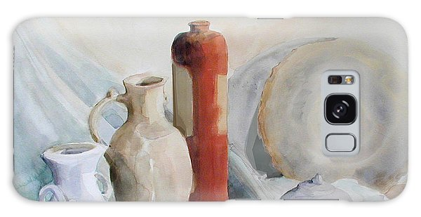 Watercolor Still Life With Pottery And Stone Galaxy Case