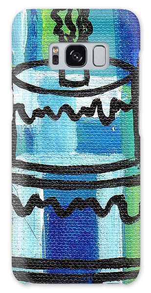 Stl250 Birthday Cake Blue And Green Small Abstract Galaxy Case by Genevieve Esson