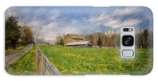 Old Road Galaxy Case - Stone Barn On A Spring Morning by Lois Bryan