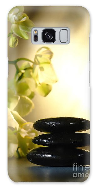 Stone Cairn And Orchids Galaxy Case