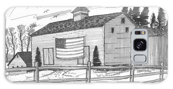 Stone Ridge Barn With Flag Galaxy Case