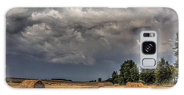 Storm Clouds Over Harvested Field In Poland 2 Galaxy Case by Julis Simo