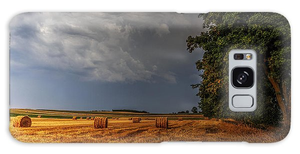 Storm Clouds Over Harvested Field In Poland Galaxy Case