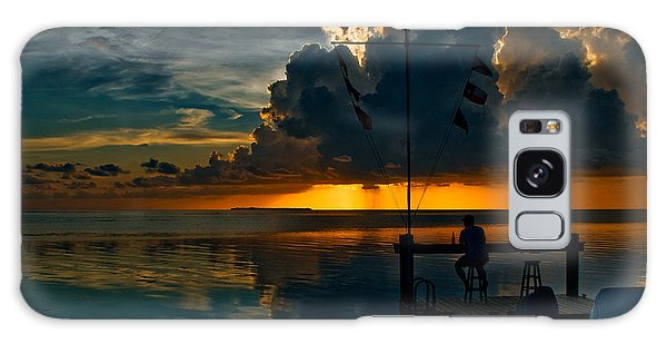 Sunset Tropical Storm And Watcher In Florida Keys Galaxy Case