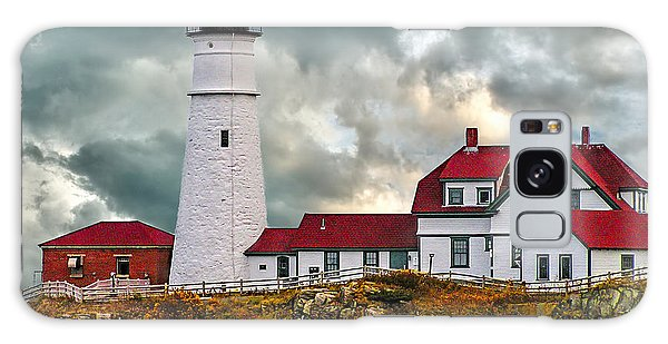 Stormy Portland Head Light Galaxy Case