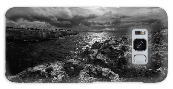 Blank And White Stormy Mediterranean Sunrise In Contrast With Black Rocks And Cliffs In Menorca  Galaxy Case