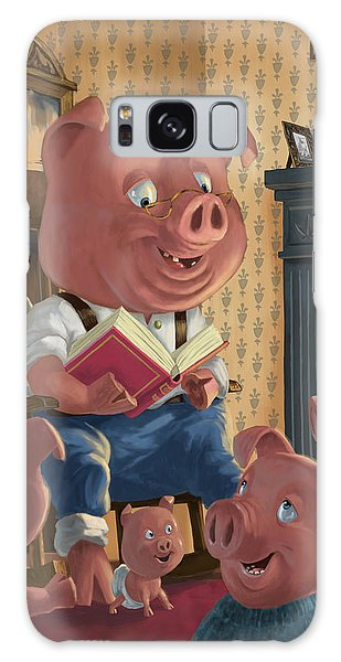 Story Telling Pig With Family Galaxy Case by Martin Davey