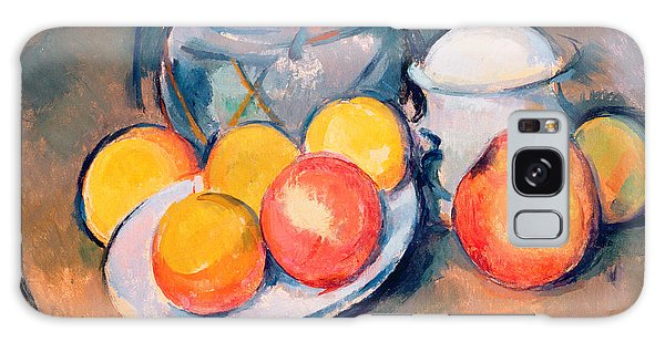 Still Galaxy Case - Straw Covered Vase Sugar Bowl And Apples by Paul Cezanne