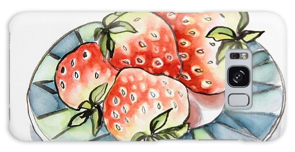Strawberries On Plate Galaxy Case