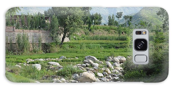 Stream Trees House And Mountains Swat Valley Pakistan Galaxy Case