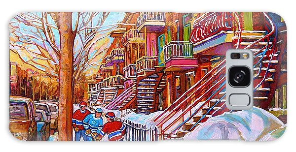 Street Hockey Game In Montreal Winter Scene With Winding Staircases Painting By Carole Spandau Galaxy Case