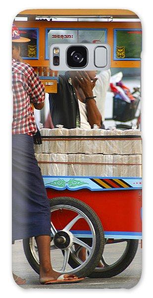 Street Seller At The Foreshore Of The Yangon River Yangon Myanmar Galaxy Case