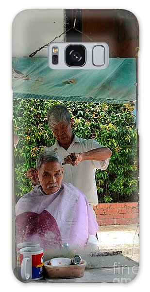 Street Side Barber Cuts Client Hair Singapore Galaxy Case