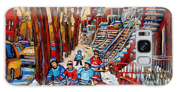 Streets Of Verdun Hockey Art Montreal Street Scene With Outdoor Winding Staircases Galaxy Case