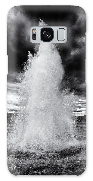 Strokkur Geyser Iceland Black And White Galaxy Case