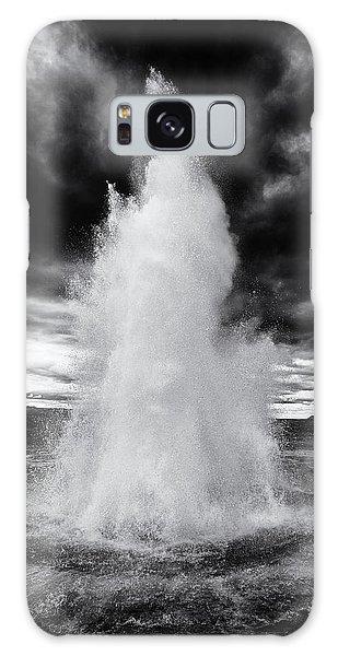 Strokkur Geyser Iceland Black And White Galaxy Case