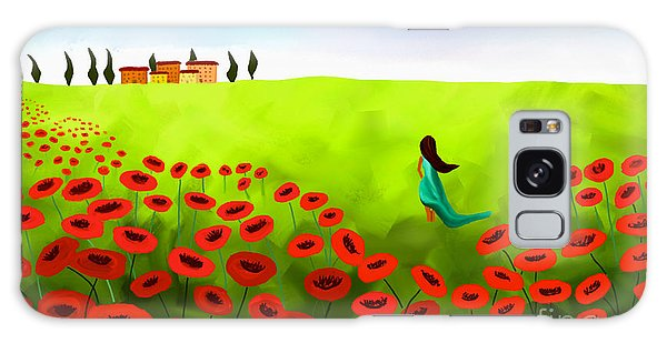 Strolling Among The Red Poppies Galaxy Case