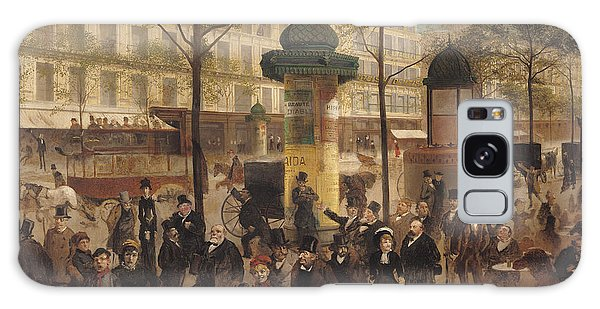 Street Cafe Galaxy Case - Study For A Panorama Of The Boulevard De Montmartre, 1877 Oil On Canvas by Andre Gill