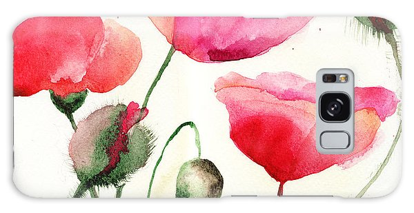 Stylized Poppy Flowers Illustration  Galaxy Case