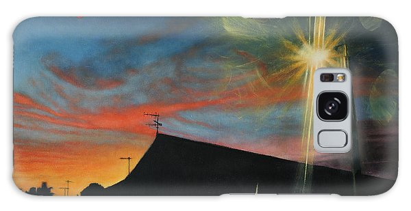 Suburban Sunset Oil On Canvas Galaxy Case