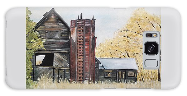 Golden Aged Barn -washington - Red Silo  Galaxy Case by Jan Dappen