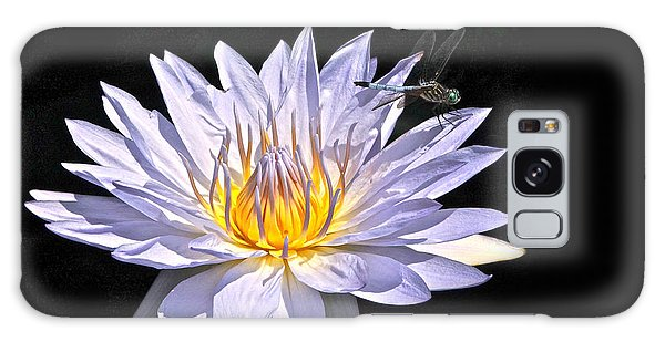 Summer Magic -- Dragonfly On Waterlily On Black Galaxy Case