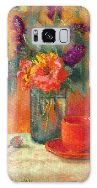 Summer Song- Orange Roses And Butterfly Bush Blooms Galaxy Case by Bonnie Mason