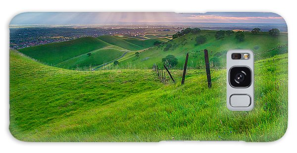 Sun Rays And Green Hillside Galaxy Case
